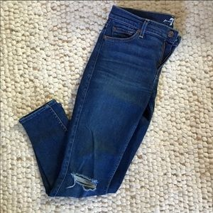 7FAM mid rise ripped knee skinny jeans